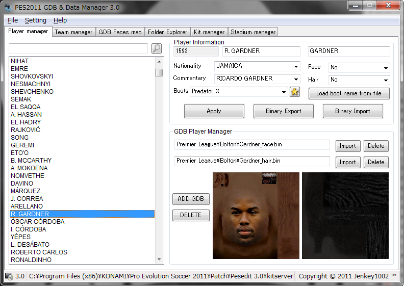 player gdb manager para pes6